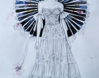 Custom bridal illustration, Fashion illustration, Bridal portrait