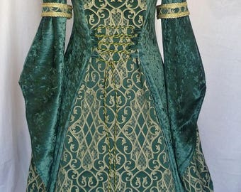 Renaissance Clothing dress forest green and pale gold wedding gown,goth costume,medieval gown, pagan fantasy dress,custom made to any size