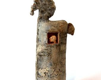 Trojan horse 3.63, Unique Ceramic Figurine, Animal Clay, Horse, Ceramic Sculpture,
