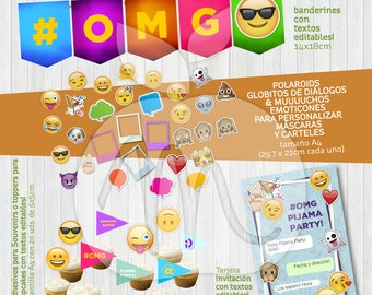 Emoji Printable Kit. banners, card, cupcake flags and photo boot props. Editable texts. INSTANT DOWNLOAD!