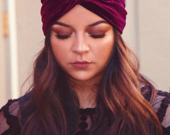 Twist Velvet Headband Burgundy Turban Headband Hair Accessories Gifts For Her