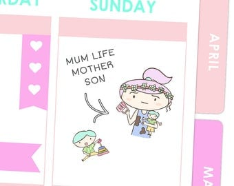 Mother Son Life Stickers / Planner Stickers