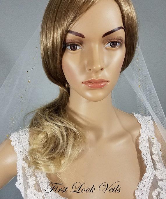 White Wedding Veil, Gold Accent Bridal Veil, Bridal Hip Veil, Gold Wedding, Bridal Attire, Bridal Accessory, Wedding Vail, Bride, Gift