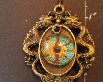 Chinese Dragon with Eyes Cabochons Earrings