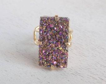 Druzy Ring, Purple Druzy Ring, Crystal Ring, Large Gemstone Ring, Gold Ring, Boho Ring, Adjustable Statement Ring, Christmas Gift, G2-43