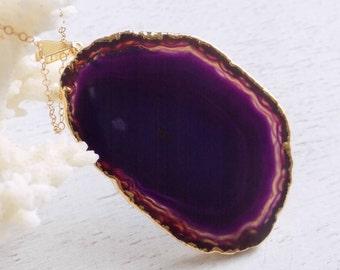 Agate Necklace, Purple Slice Agate Necklace, Gemstone Necklace, Large Agate Slice Necklace, Gold Layer Necklace, Long Boho Necklace, 6-390