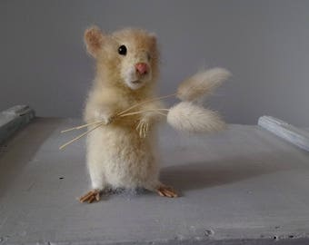 Felted Hamster Textile Animal Sculpture Pet Portrait Memorial Art Hamster Lover gift