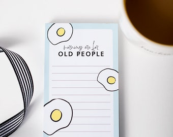 Kitchen Notepad, Morning Humor, Magnetic List, Gift for Night Owl, Food Illustration, Grocery List, Small Notepad, Breakfast Lover