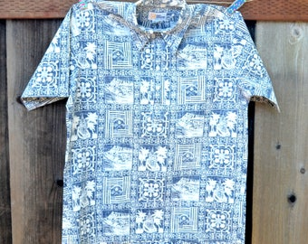 Vintage Reyn Spooner Hawaiian Shirt, Gold Label, NOS, Men's Pullover Short Sleeve Shirt, Sz M, Blue and White Aloha Shirt, 1980s