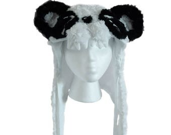 Panda Chomp Hood, Soft Animal Hat with Magnetic Clasps, Panda Ears, One Size Fits Most