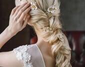 20% OFF- Bridal Hair Pins, Set of 5 Wedding Hair Pin, Wedding Flower Hair Pins, Bridal Hair Accessory, Wedding Hairpiece,Gold Leaf Hair Pin