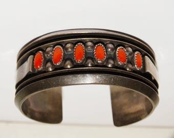 1950's Navajo Sterling Silver Unsigned Coral Cuff Bracelet.