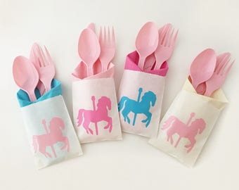 Cutlery Bags - Carousel Party - Carousel Birthday - Carousel Horse - Carousel Horse Baby Shower - Birthday Decorations - Circus Party Decor