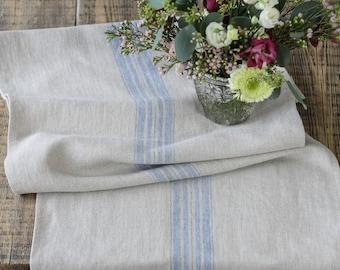 Farmhouse Grain sack style  Blue stripe linen Burlap table runner Rustic Rough Easter