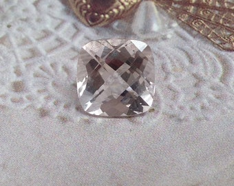 Morganite 9x9mm 3 Carat Checkerboard Cushion Cut Salmon Purple Beige Loose Gem Unmounted Gemstone For Engagement Ring Wedding Wholesale