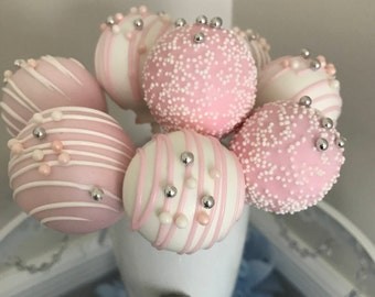 Light Baby Pink and White Drizzled Cake Pops with Sprinkles & Sugar Beads