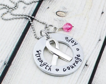Personalized Breast Cancer Necklace - Custom Breast Cancer Awareness Jewelry - Hand Stamped Encouragement Necklace - Strength Courage Hope