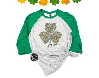 Colorful Clover Shirt - Adult Shirts - St. Patrick's Day Shirt - Rainbow Clover - Happy St. Paddy's Day - Unisex Adult Raglan Shirts