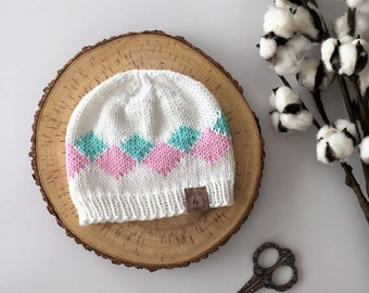 Baby Knit Hat//Baby Girl Beanie//White, Pink, Aqua Hat//Newborn Beanie//Argyle Baby Hat//Baby Shower Gift//Photo prop//Baby Girl Gift/Beanie