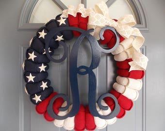 American Flag Wreath, 4th of July Wreath, Military Wreath, Burlap Flag Wreath, Patriotic Wreath, Flag Wreath, Monogram Wreath, Wreath, Flag