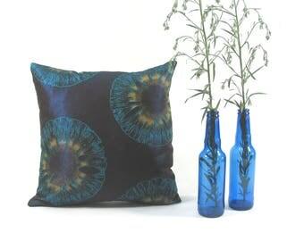 Vlisco Aura wax print-African fabric-Ankara-cushion cover-Pillow cover-15 inch-lurex-Eye-Brown-Dark Blue-Iced coffee-Turquoise-Shimmer