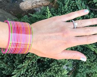 Lucite Bracelet // Neon Bracelet // Multi Color Stripes // 80s Bracelet // Ribbon Candy Bracelet // Translucent Lucite Candy Stripe Bracelet