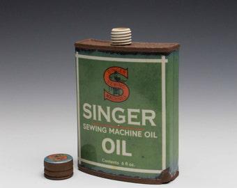 """Porcelain Hip Flask """"Singer Oil"""""""
