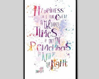 CLEARANCE Albus Dumbledore quote,  Print Harry Potter, Happiness can be found watercolor print, Harry Potter Cool Man Gift, Movie Poster_43
