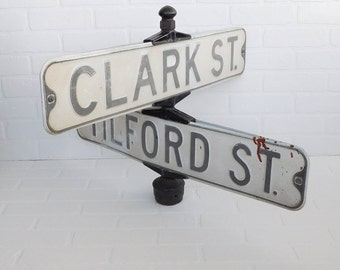 Vintage Street Sign, Street Sign Post, Mancave Decor, Clark Street, Tilford Street, Yard Decor, Industrial Sign