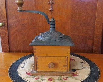 Antique Wood Base Wrought Cast Iron Coffee Grinder Farmhouse Country Decor
