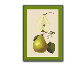 Pear Counted Cross Stitch Pattern / Chart, Instant Digital Download, Kitchen Decor  (AP043)