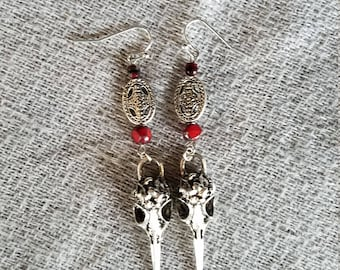 Western Style Raven Skulls with Red Czech Glass Beads