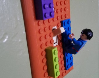 Lego Compatible Light Switch Plate - Home Decor - Many Colors Available