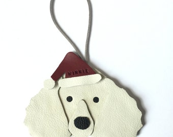 Leather Poodle Christmas Ornament Decoration Personalised Poodle Gifts - Handmade in UK - Leather Dog Hanging Ornaments