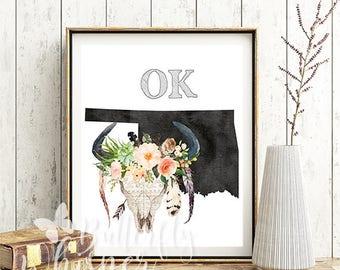 Oklahoma state map decor - Oklahoma illustration - Watercolor art - Oklahoma wall decor - Moving gift - Oklahoma bull skull print poster