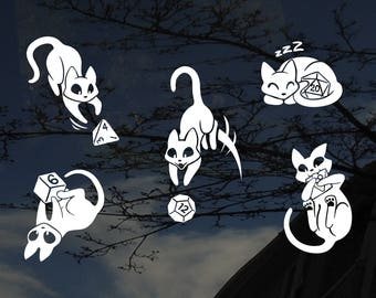 DnD Dice Cats - Set of 5 - Car, Glass, & Electronics Decals