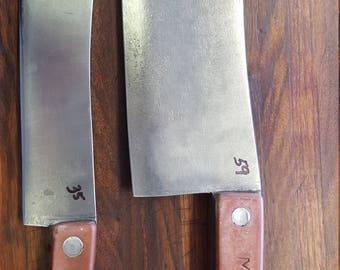 Vintage Cleaver and Butcher Knife Set