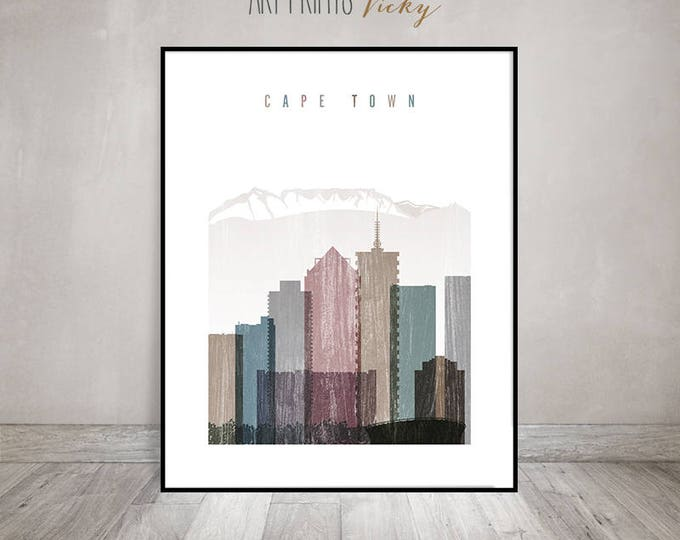 Cape Town art print, Poster, Wall art, Travel, distressed, South Africa skyline, City poster, Home Decor,Digital Print, Gift, ArtPrintsVicky