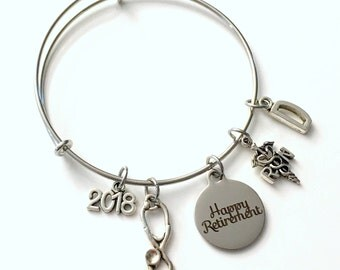 RN Retirement Gift for RN Nurse, 2018 or other year Charm Bracelet Jewelry Silver Bangle Coworker Head initial women initial Present woman