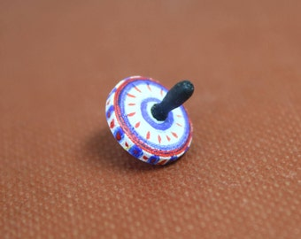 Dollhouse Miniature Tiny Hand Painted Red, White & Blue Spinning Top Toy Signed DK (1/12 Scale)