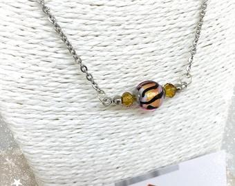 Collier avec véritable perle de Murano - Rose, Noir et Doré