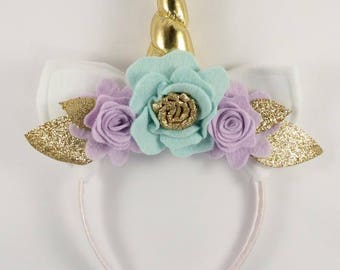 Gold and Lilac Unicorn Floral Crown - Unicorn Horn and Ears Headband - Unicorn Headband