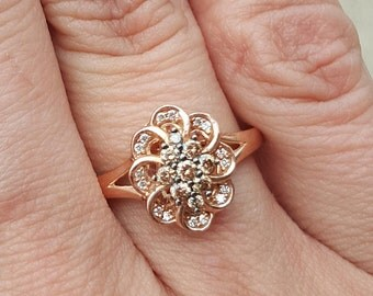 14k Rose Gold Levian Chocolate Diamond Flower Ring