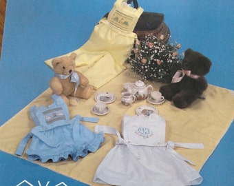 Patty's Playsuit, Beaucoup pattern, smocked bib with long pants, smocked bib with shorts, smocked bib with skirt, unsmoked bib, heirloom