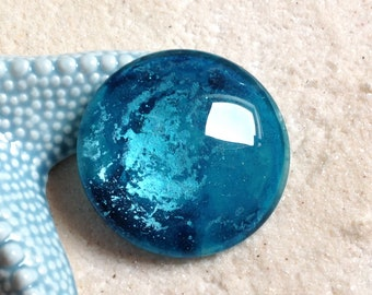 50mm and turquoise blue cabochon metallized + 1 free bail /PEINT hand / large magnifying glass cabochon / Bohemian pendant / cosmic