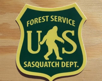 Sasquatch Sticker -- Bigfoot Sticker -- Sasquatch Decal -- Yeti -- Forest Service -- Bigfoot Decal -- Northwest Sticker -- Camping -- PNW