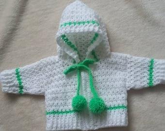 Crochet Baby Hoodie Cardigan 0-3 months