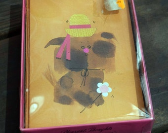 Pleasant Thoughts/Puppy Notes/Letter-ettes/Gibson Greeting Cards/Blank Note Cards/Set of Seven Cards and Envelopes with original Lidded Box