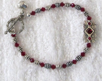 January Garnet & Silverplated Heart Bracelet, January Birthstone Jewelry, Winter Themed Jewelry, Larger Wrist Jewelry