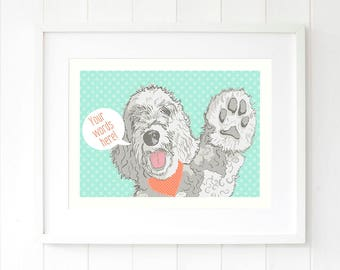 Labradoodle wall art, white Labradoodle dog pop art print, white doodle dog print, Golden doodle art, gift for dog owners, Dog Lovers Print